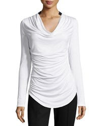 P. Luca Cowl Neck Tee W Faux Leather Trim White Black