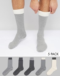 Asos Waffle Socks With Contrast Welts 5 Pack Multi