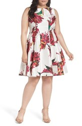 Gabby Skye Plus Size Women's Keyhole Detail Floral Shantung Fit And Flare Dress