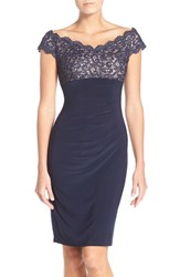 Xscape Evenings Petite Women's Lace And Jersey Off The Shoulder Sheath Dress