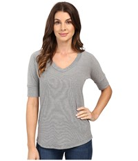 Mod O Doc Mini Stripe Dolman Sleeve V Neck Grey Women's T Shirt Gray