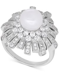 Arabella Cultured Freshwater Pearl 8Mm And Swarovski Zirconia Ring In Sterling Silver Only At Macy's