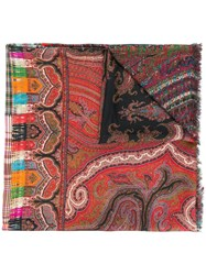 Pierre Louis Mascia Paisley Print Frayed Scarf Red