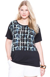 Eloquii Print Front Mixed Media Tee Plus Size Shibori Plaid