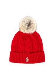 Moncler Fur Pompom Knitted Beanie Hat Red
