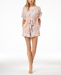 French Connection Printed Open Back Romper Peach Blossom