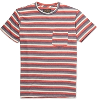 Beams Plus Striped Cotton Blend Jersey T Shirt Red