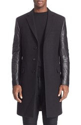 Men's Givenchy Leather Sleeve Wool Topcoat