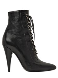 Saint Laurent 105Mm Fetish Lace Up Leather Ankle Boots