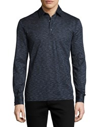 Culturata Teviglio Melange Long Sleeve Polo Shirt Blue Navy