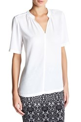 Nydj Short Sleeve Split Neck Georgette Blouse White