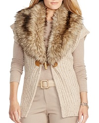 Lauren Ralph Lauren Plus Faux Fur Collar Vest