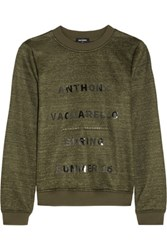 Anthony Vaccarello Printed Jersey Sweatshirt Army Green