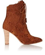 Ulla Johnson Embroidered Audrey Ankle Boots Brown