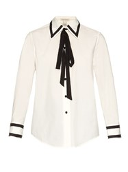 Marc Jacobs Tie Neck Cotton Blend Poplin Shirt White