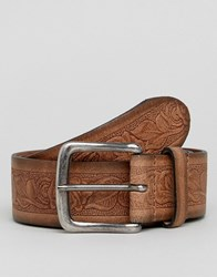Asos Wide Leather Belt With Floral Emboss And Burnished Edges Brown