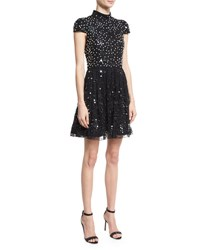Alice Olivia Maureen Cap Sleeve Embellished Lace Cocktail Dress Black