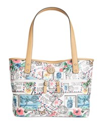 Giani Bernini Postcard Print Canvas Tote Only At Macy's White Multi