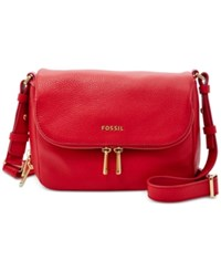 Fossil Preston Leather Small Flap Crossbody Real Red