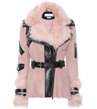 Alexander Mcqueen Leather Trimmed Shearling Jacket Pink