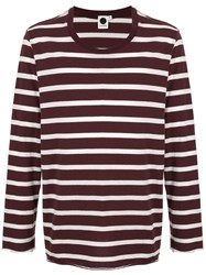 Bassike Vintage Striped Long Sleeve T Shirt Red
