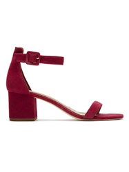 Chunky Heel Sandals Leather Red