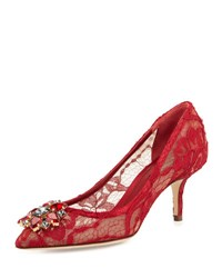 Dolce And Gabbana Jewel Embellished Lace Pump Rosso Scuro