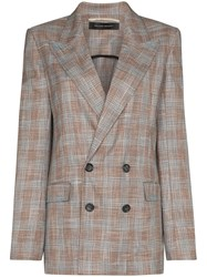 Roland Mouret Salvatore Checked Blazer Pink