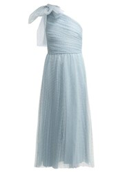 Redvalentino One Shoulder Tulle Midi Dress With Bow Light Blue