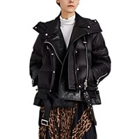 Sacai Leather And Down Moto Puffer Jacket Black