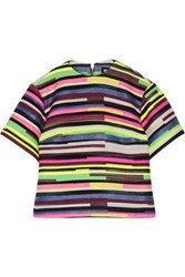 House Of Holland Elspeth Striped Jacquard Top Bright Pink