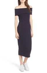 Trouve Women's Ribbed Off The Shoulder Midi Dress Navy Sapphire