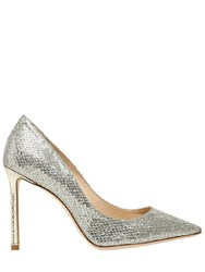 Jimmy Choo 100Mm Romy Glitter And Net Lace Pumps