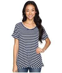 Allen Allen Twist Front Crew W Roll Hem Sleeves Stripe Navy Women's T Shirt