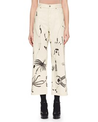 Dries Van Noten High Waist Swirl Print Wide Leg Jeans Black