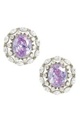 Nina Women's Estate Button Earrings Lavender White Silver