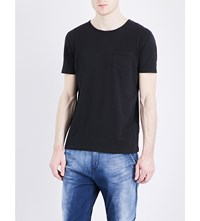 Replay Patch Pocket Linen And Cotton Blend T Shirt Blackboard