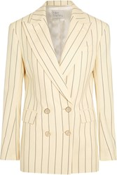 Hillier Bartley Double Breasted Pinstriped Wool Twill Blazer Cream