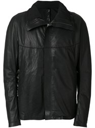 Isaac Sellam Experience High Collar Leather Jacket Men Cotton Calf Leather Polyurethane Duck Feathers L Black