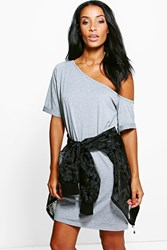 Boohoo Off The Shoulder Slouchy Dress Grey Marl