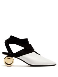 J.W.Anderson Cylinder Heel Leather Mules Black White
