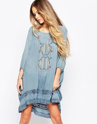 Hazel Lace Insert Smock Dress With Embroidery Detail Blue