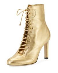 Jimmy Choo Daize Metallic Leather Lace Up Bootie Gold