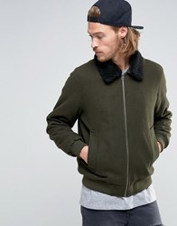 Asos Wool Mix Bomber Jacket With Borg Collar In Khaki Khaki Green