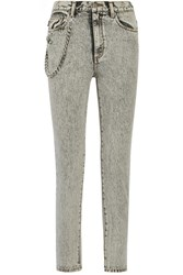 Marc Jacobs Embellished Appliqued High Rise Skinny Jeans Light Gray