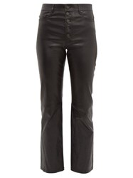 Joseph Den Leather Kick Flare Trousers Black