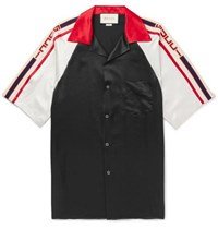 Gucci Camp Collar Webbing Trimmed Satin Shirt Black