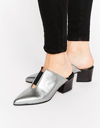 Asos Sweetness Leather Pointed Mules Silver