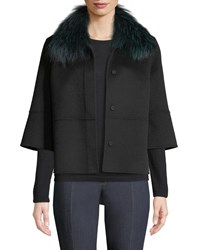 Neiman Marcus Luxury Double Faced Woven Cashmere Kimono Jacket W Fox Fur Collar Black