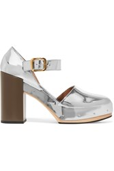 Marni Metallic Leather Platform Pumps Silver